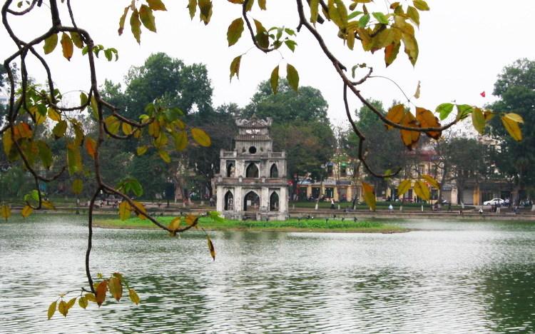 Tháp Rùa Hồ Gươm mang vẻ đẹp bốn mùa Hà Nội